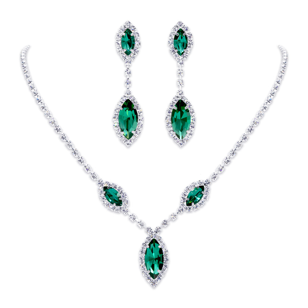 #6983 - Triple Navette Drop Necklaces and Ear Set - Emerald