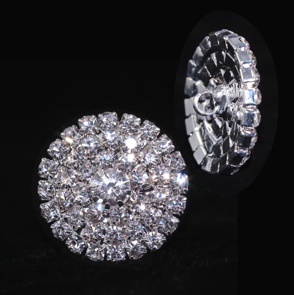 Round Pave Button with Stone Center - Medium - #7100