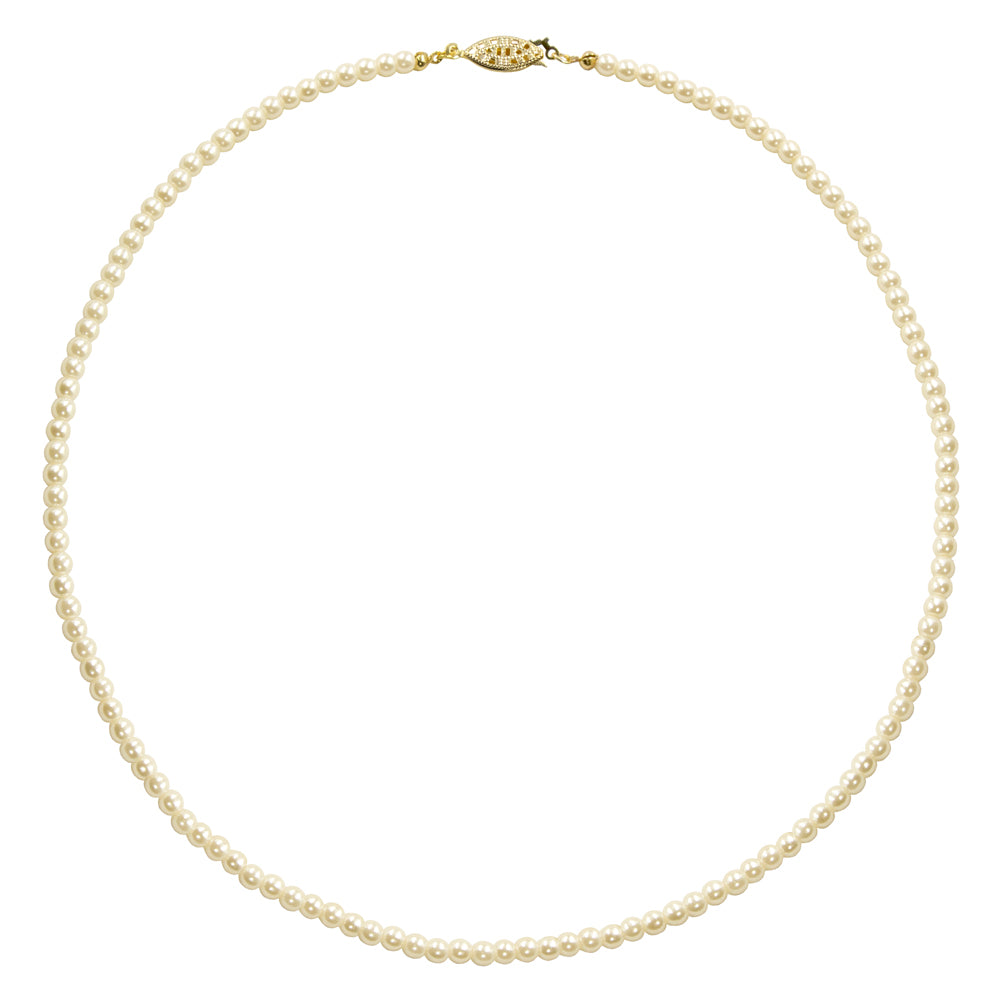 #9586-20 - 4mm Simulated Ivory Pearl Necklace - 20""