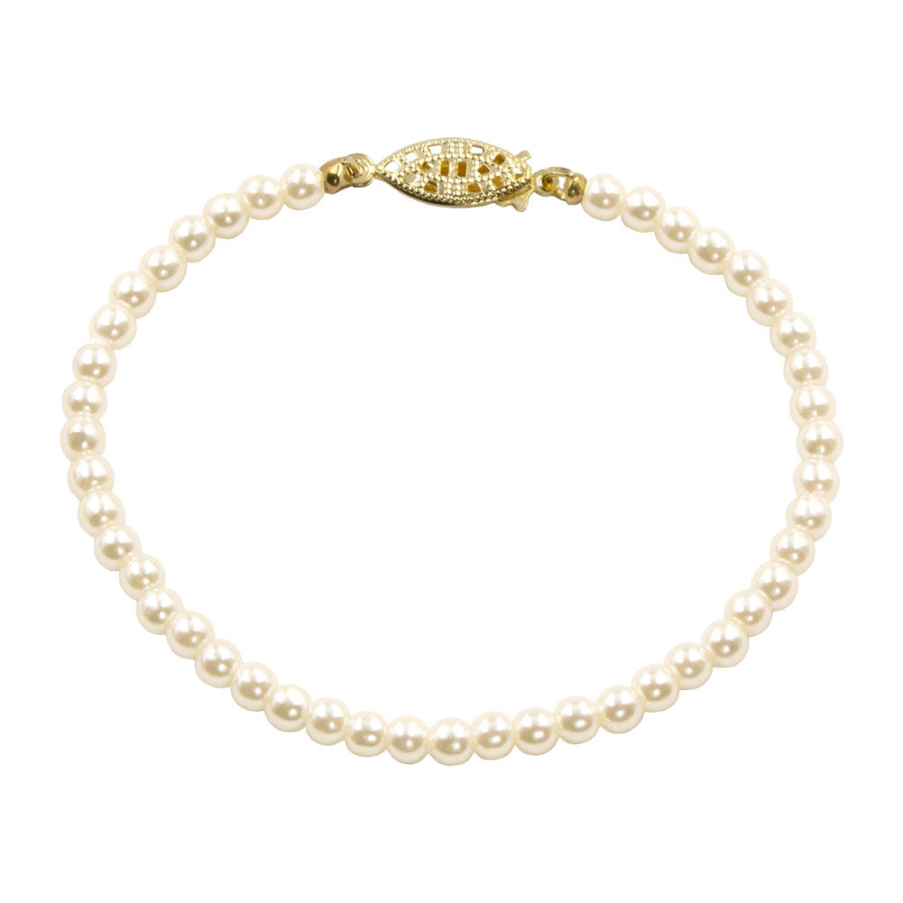 #9586-725 - 4mm Simulated Ivory Pearl Bracelet - 7.25""