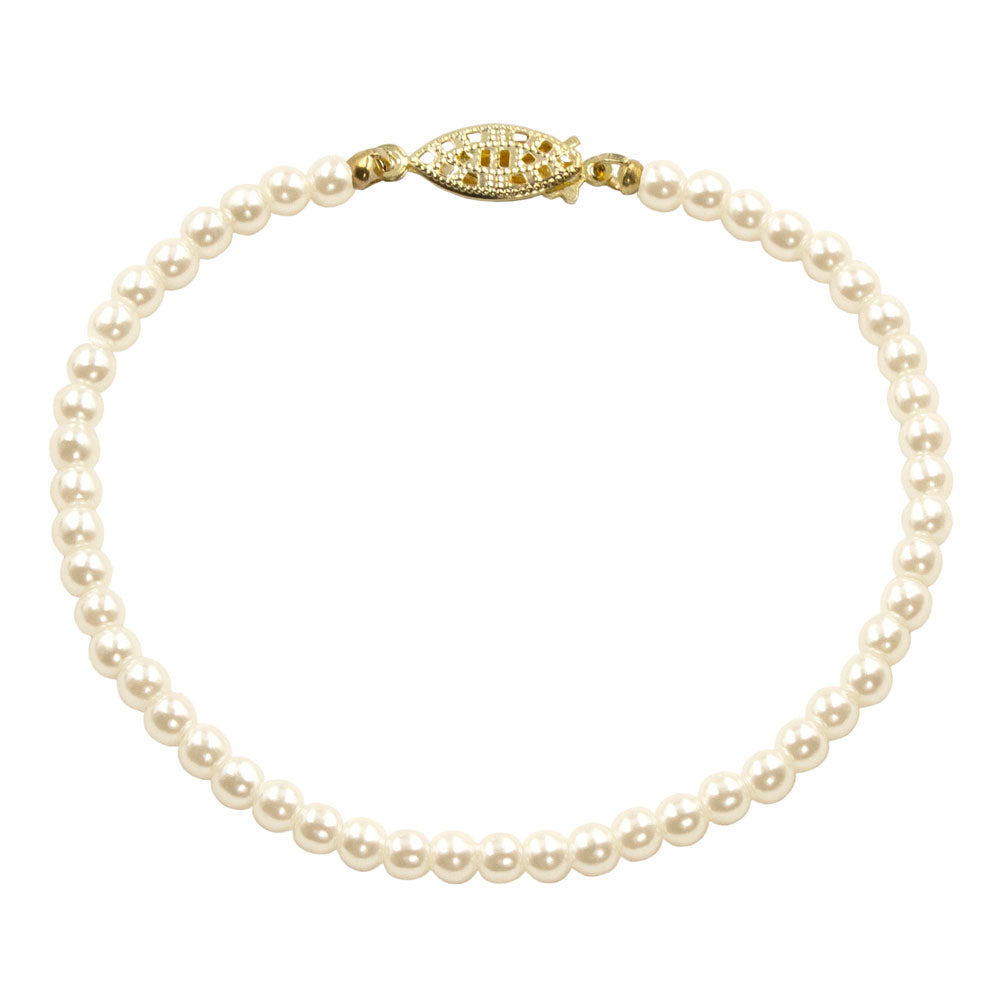 #9586-8 - 4mm Simulated Ivory Pearl Bracelet - 8""