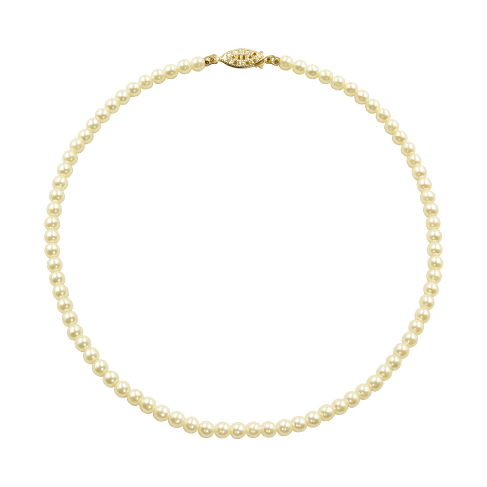 #9588-18 - 6mm Simulated White Pearl Necklace - 18""