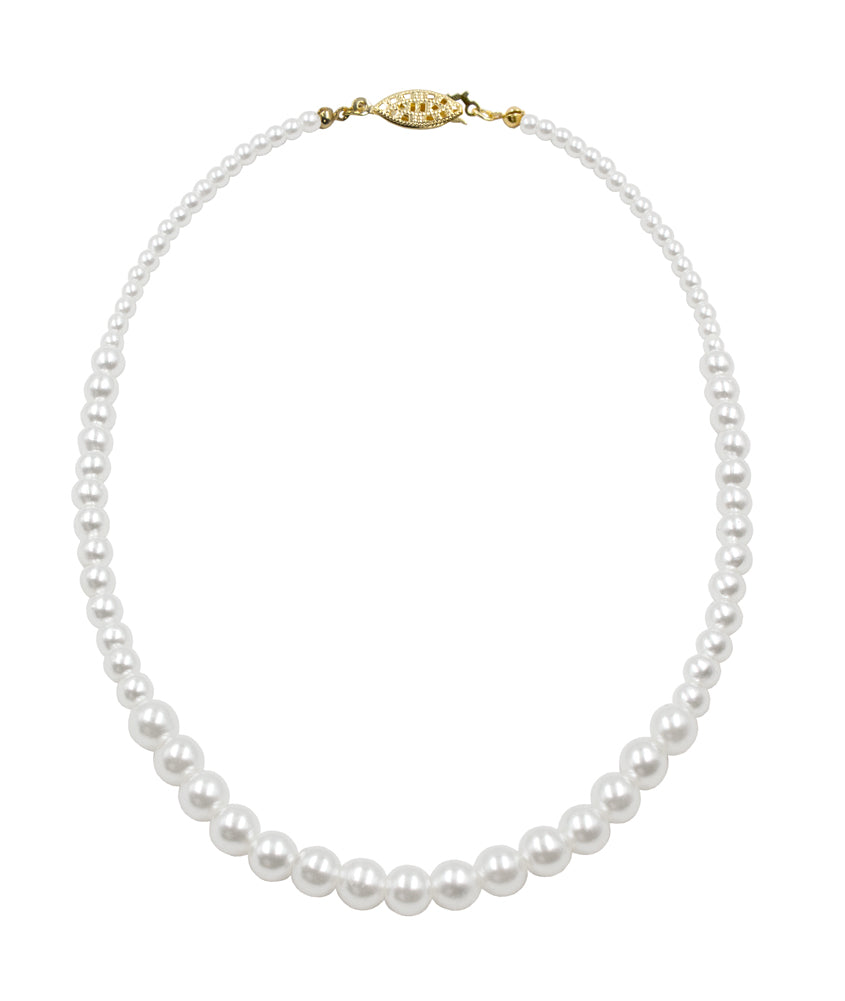 #9590-16 - Graduated Simulated Ivory Pearl Necklace - 16""
