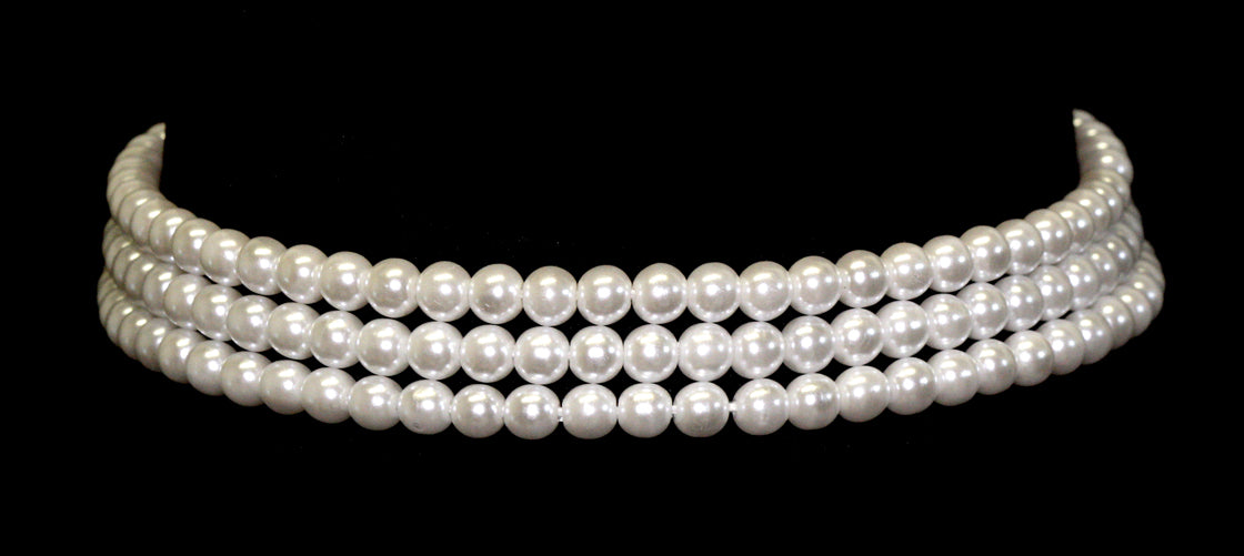 "#9777 - 3 Row 6mm White Simulated Pearl Necklace - 12""-15.5"" Adjustable"
