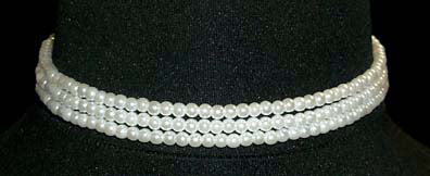 "#9778 - 3 Row 4mm White Simulated Pearl Necklace-11.5""-14.75"" Adj"