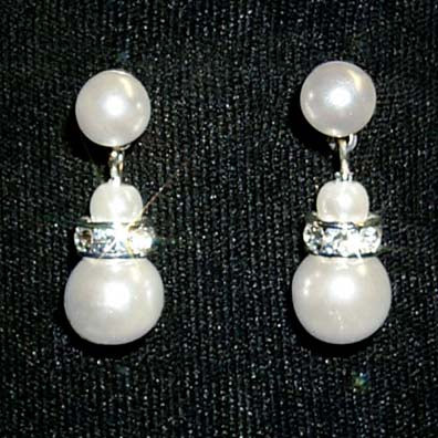 #9879 - 6mm Simulated White Pearl and Rhinestone Spacer Earring