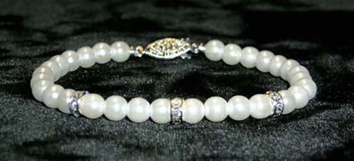 #9880 - 6mm Simulated White Pearl and Rhinestone Spacers Bracelets - 8""
