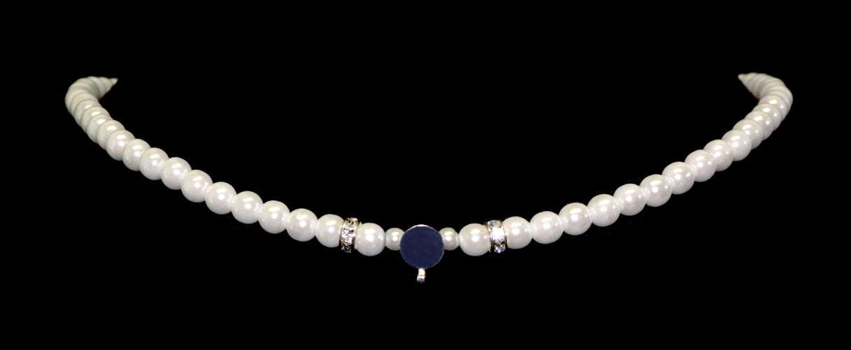 #9881 - 6mm Simulated White Pearl and Rhinestone Spacers Necklace with a Disk to Glue Your Own Centerpiece- 18""