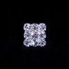 #SQ3-17SS - 3 Row Rhinestone Square Button - Silver Plated