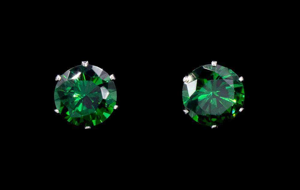 Earrings - Button 3-Carat CZ Emerald Stud Earrings
