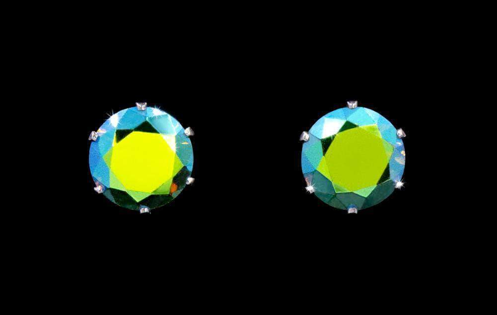 Earrings - Button 3-Carat CZ Olive AB Stud Earrings