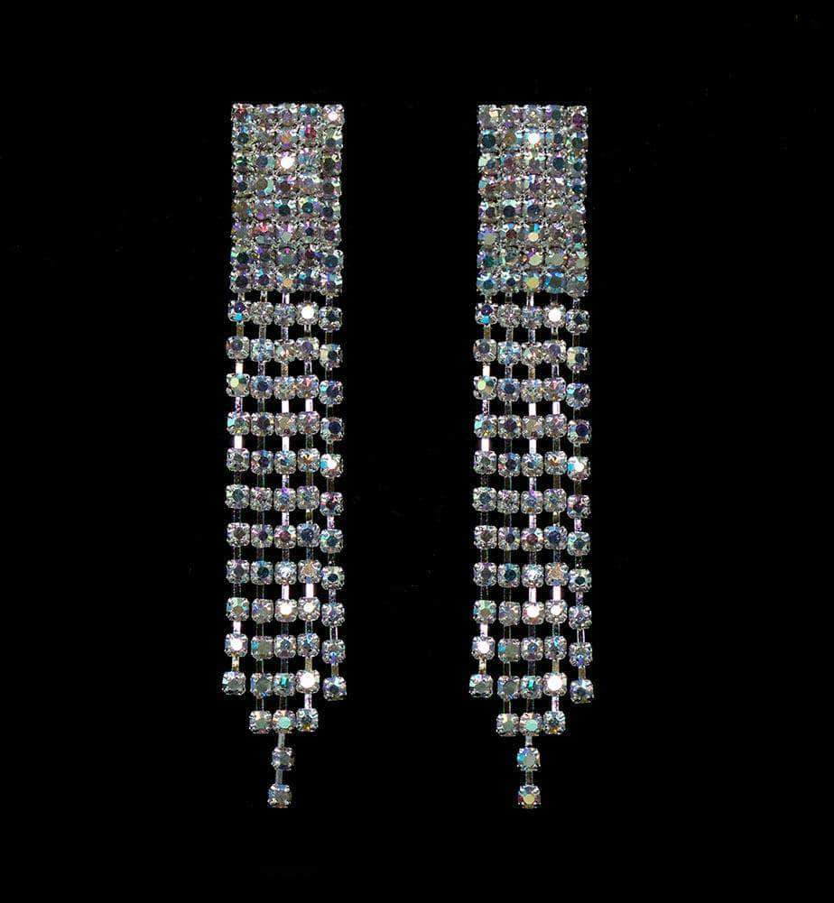 Earrings - Dangle #15081AB - Rhinestone Fray AB Earrings