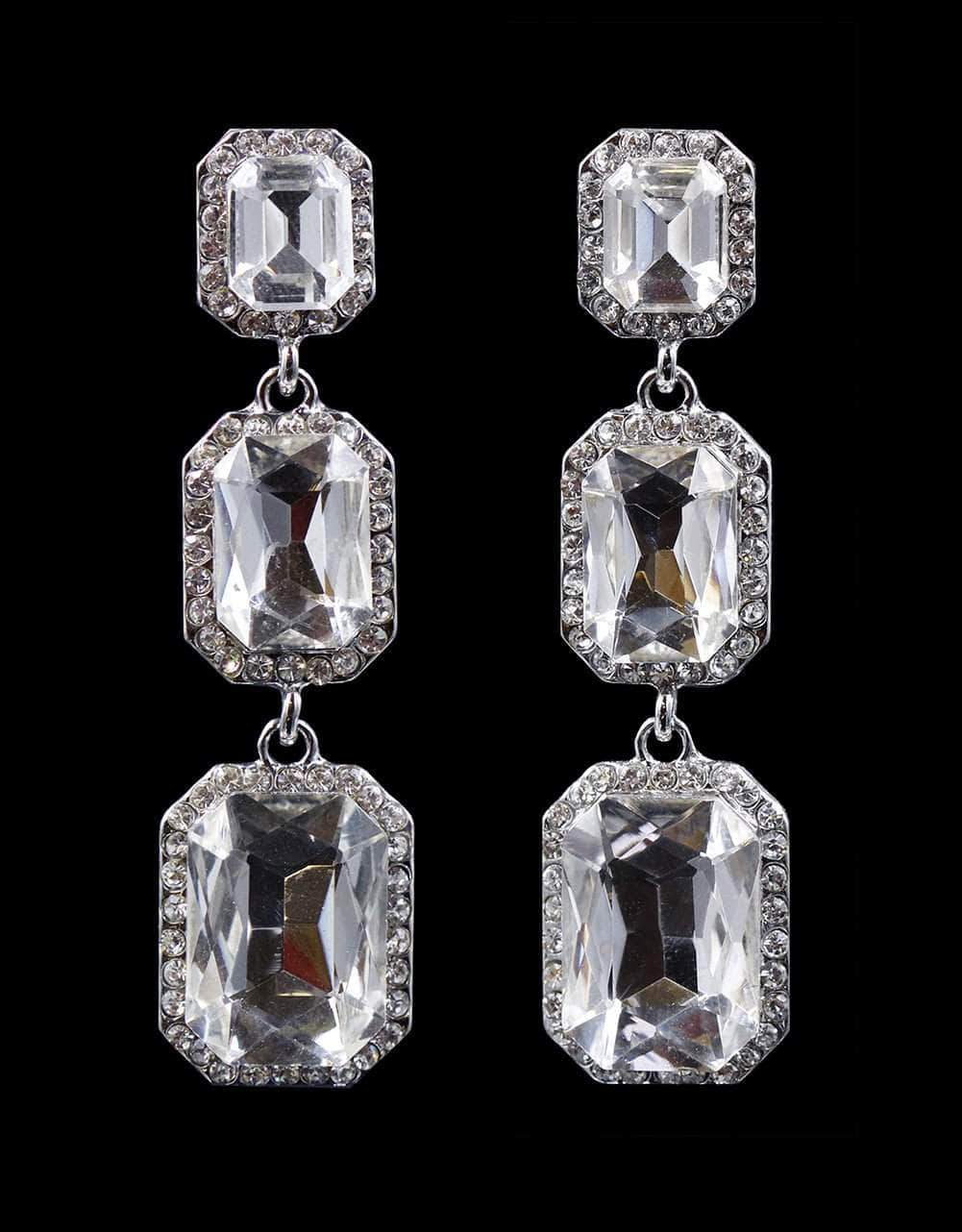 Earrings - Dangle #16718 - Triple Octagon Rhinestone Drop Earrings