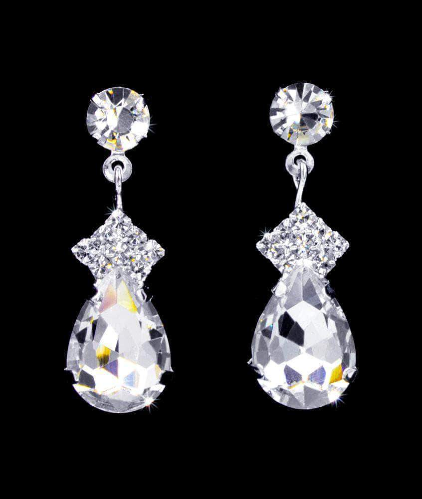 Earrings - Dangle #16899 - Diamond Pear Drop Earrings - 1.25""