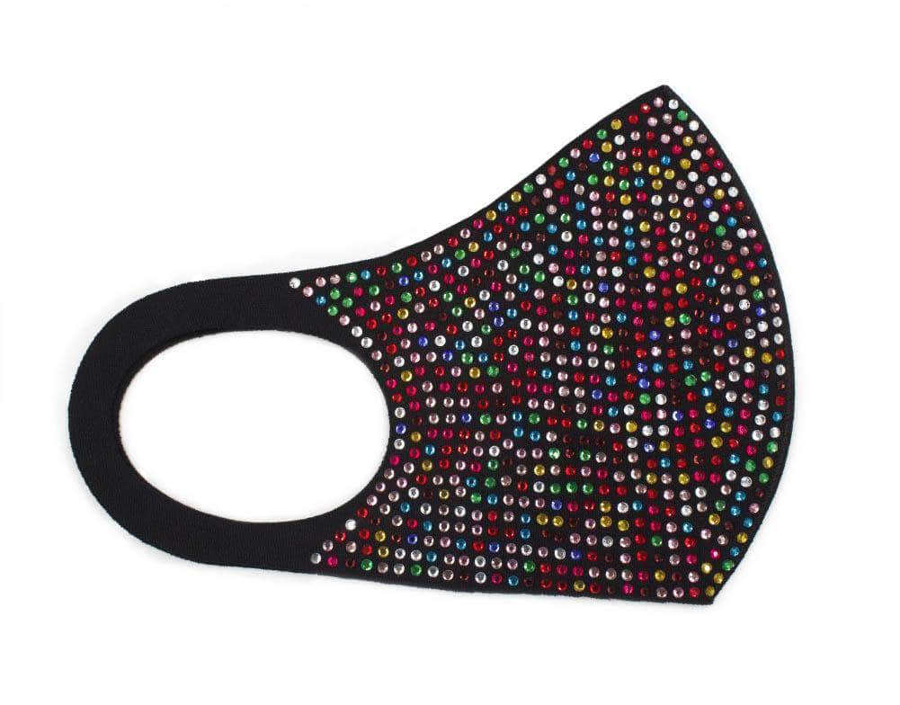 Mask #17154 Rhinestone Face Mask - Dark Multi Black