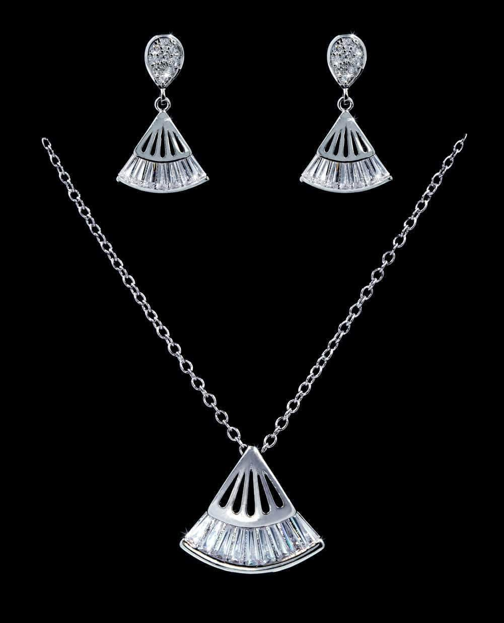 Necklace Sets - Low price #16813 - Fan Drop CZ Necklace and Earring Set
