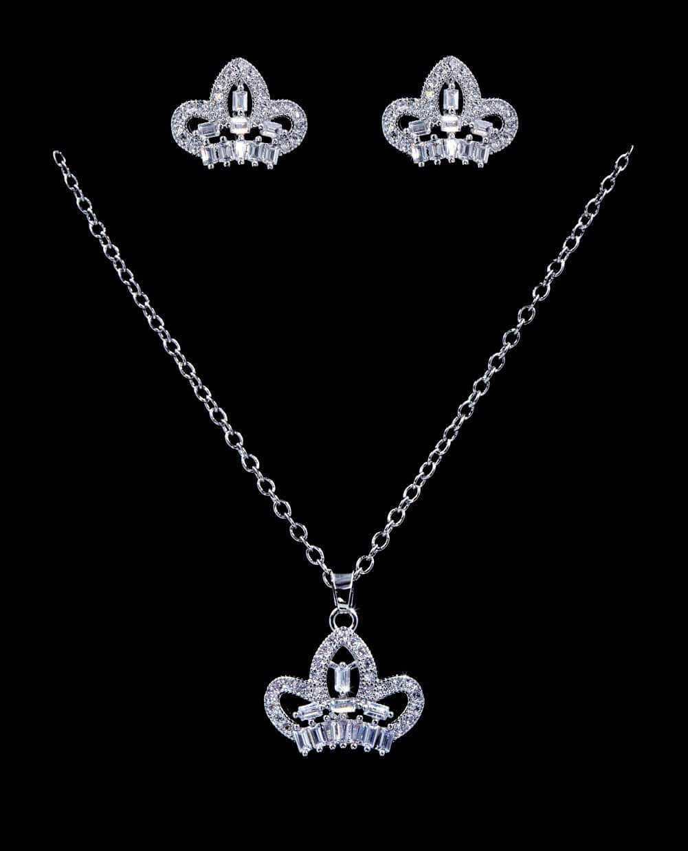 Necklace Sets - Low price #16818 - CZ Crown Necklace and Earring Set