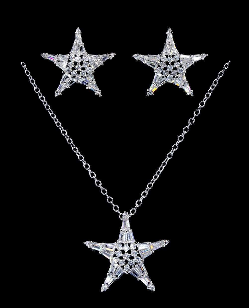 Necklace Sets - Low price #16822 - Geometric Star CZ Necklace and Earring Set