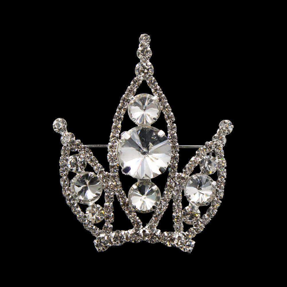 Pins - Pageant & Crown #16677 - Rivoli Burst Crown Pin