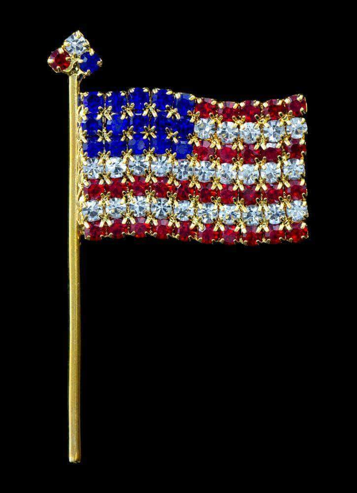 Pins - Patrioitic & Support #7489 Lg - Large Rhinestone Flag Pin - Gold