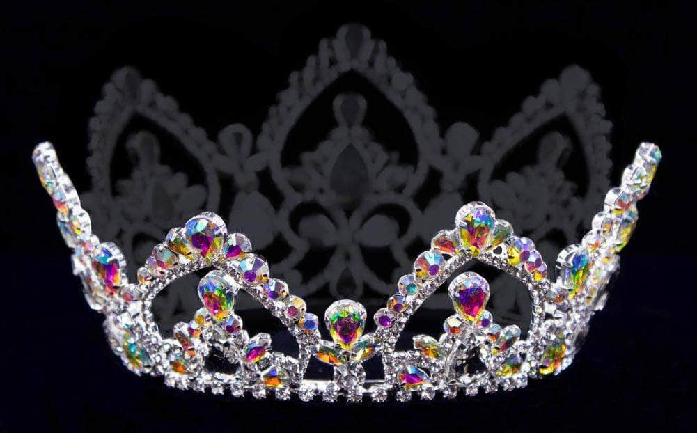 "Tiaras up to 4"" #17104abs - AB Arch Full Crown - 4"" Tall with 4 Rings"