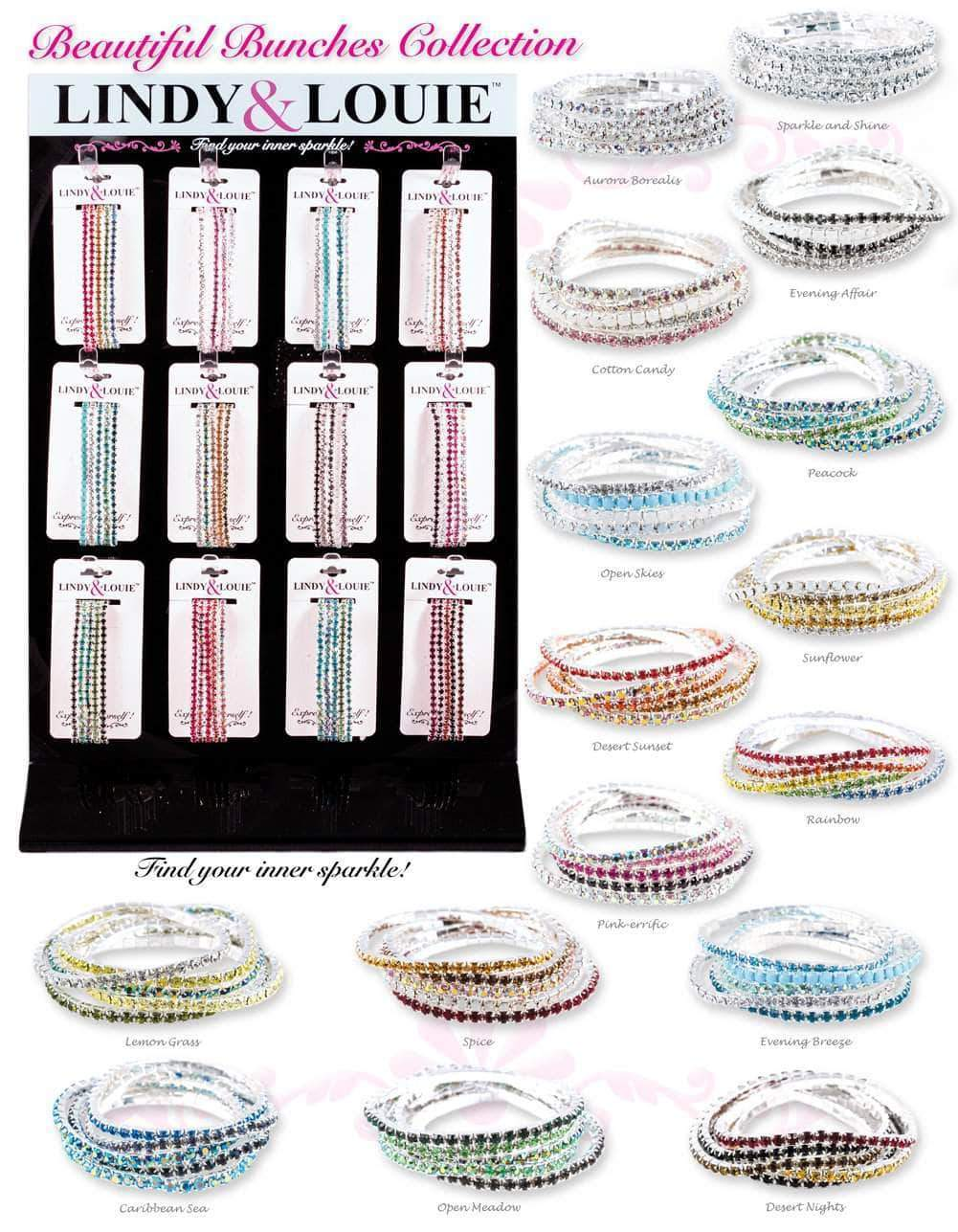 Trendy Jewelry #91106 -Lindy & Louie Buncher Bracelets Assortment with Display