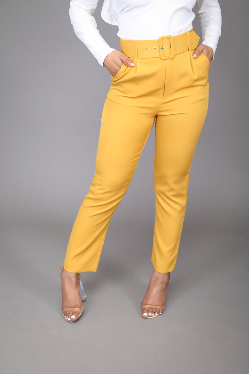 Mustard High Waist Ankle Pant