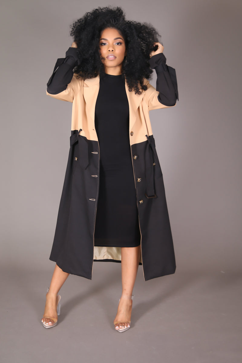 Two Toned Lightweight Trench Coat