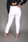 White High Waist Ankle Pant