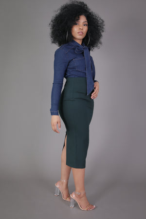 Midi Skirt with High Split (Hunter Green)