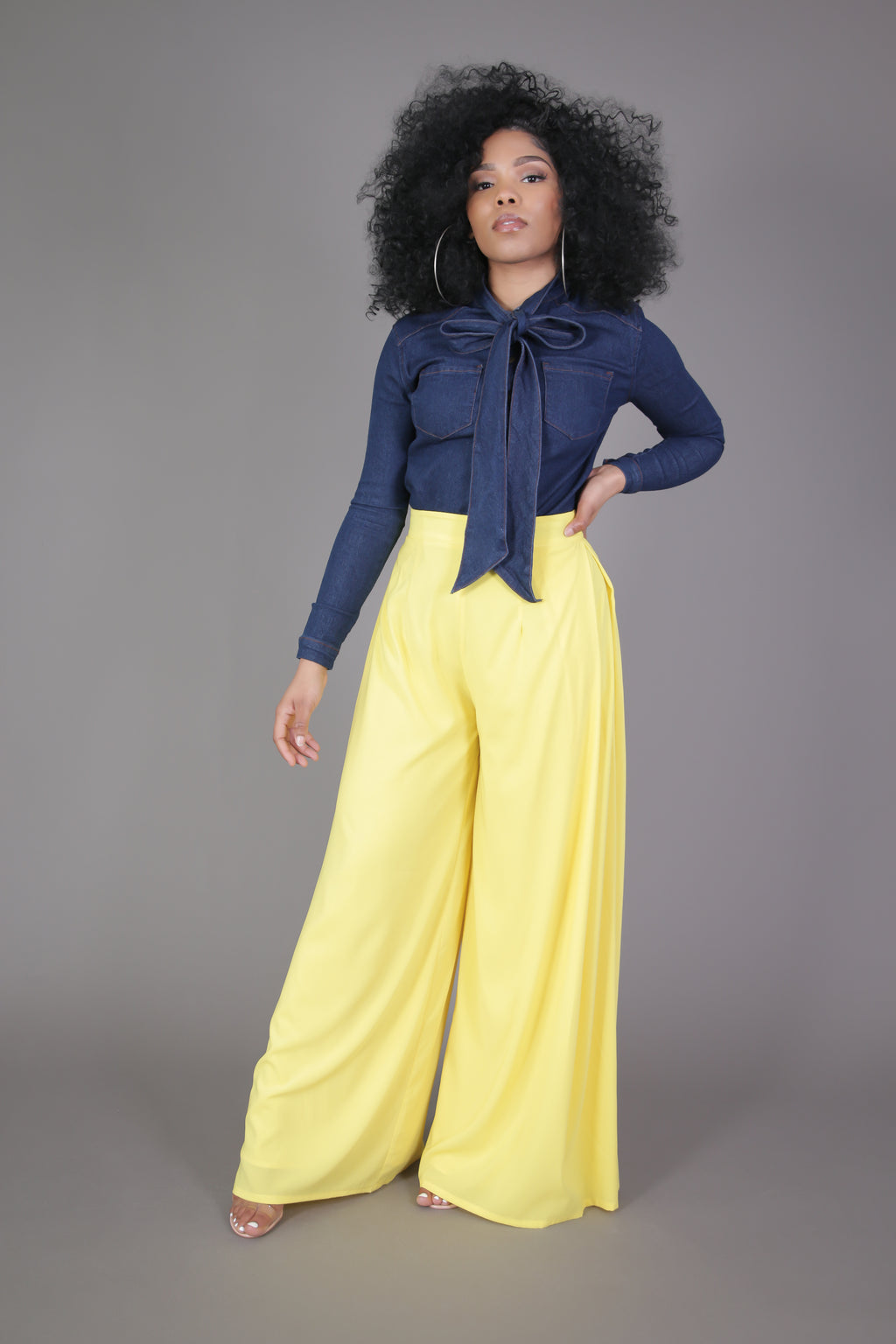 High Waisted Wide Leg Pant (Yellow)