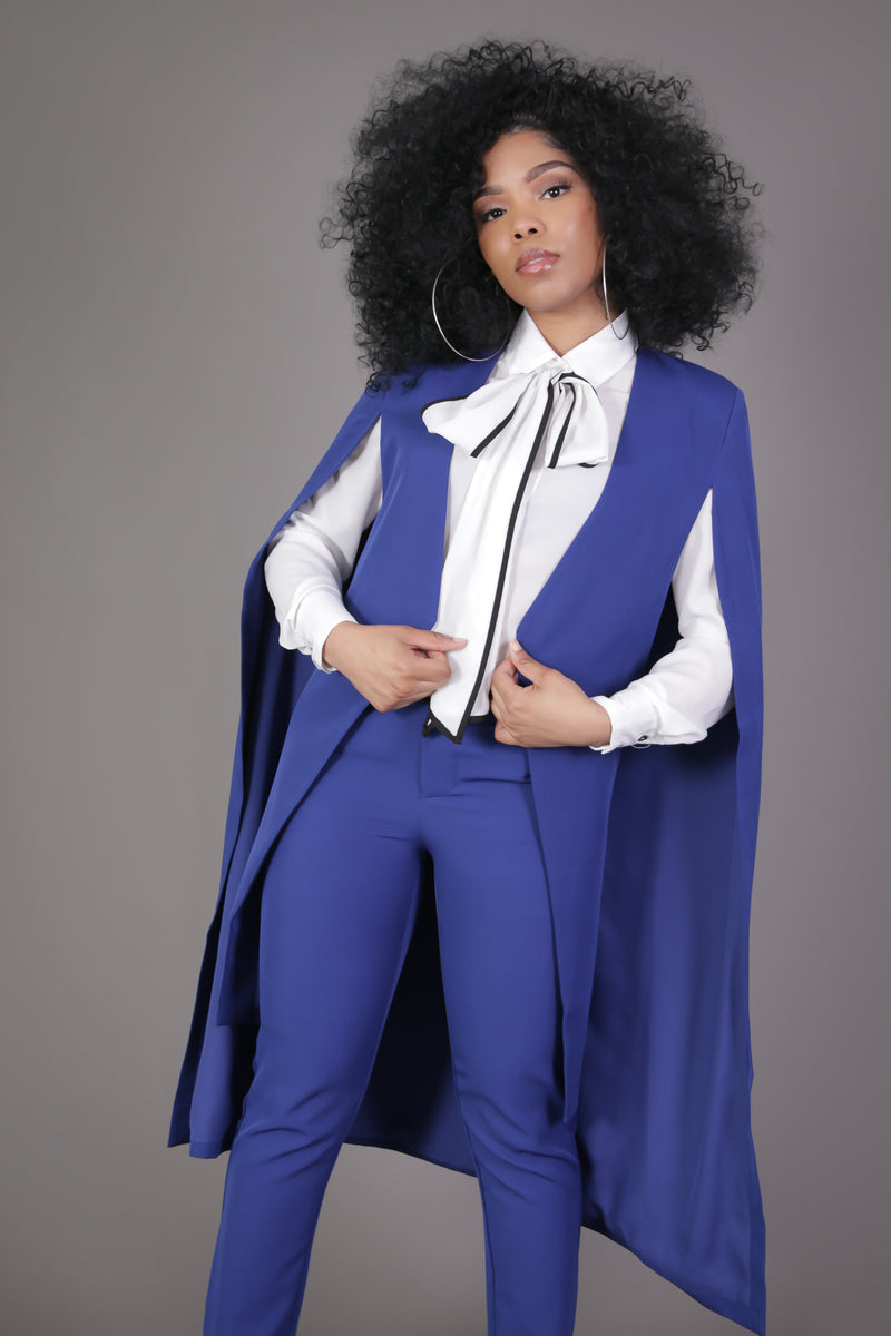 Royal Blue Maxi Cape Jacket
