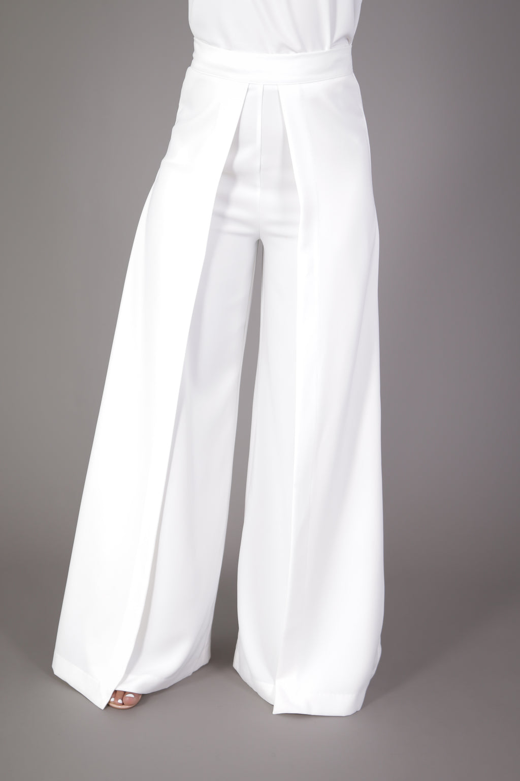 High Waisted Wide Leg Pleated Palazzo Pant (White)