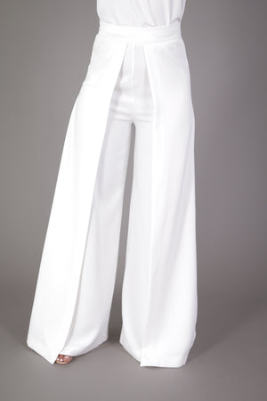 High Waist Wide Leg Pleated Palazzo Pant (Ivory)
