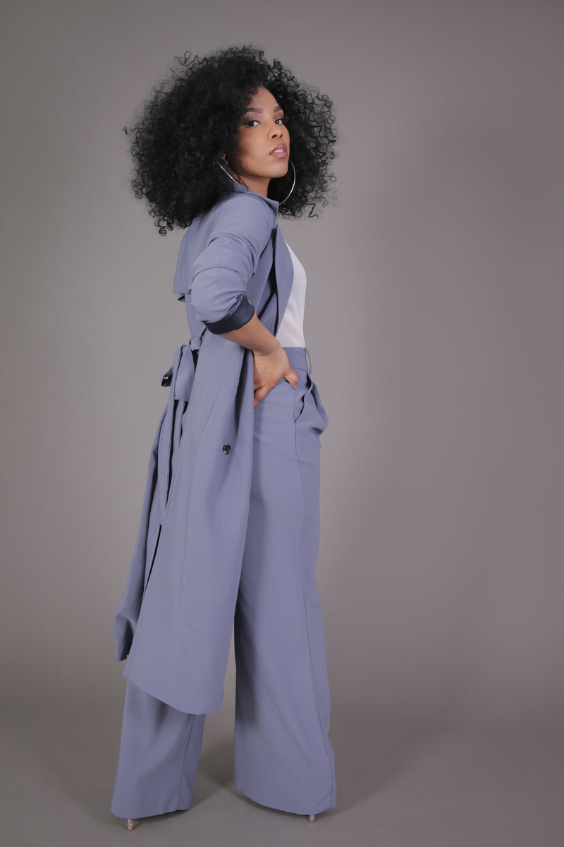 Trench & Wide Leg Pant Suit Set