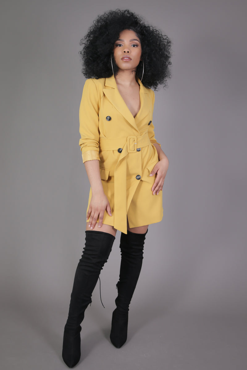 Mustard Yellow Blazer Dress