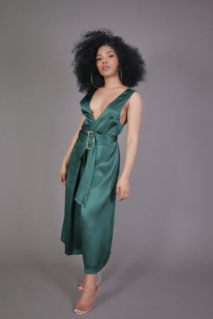 Hunter Green Belted Jumpsuit