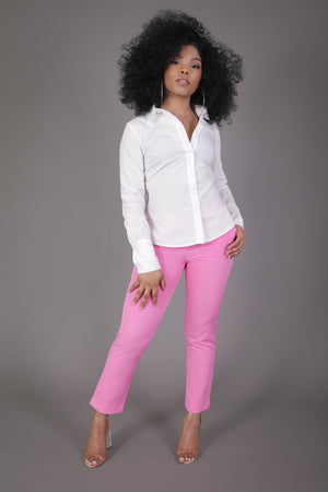 Pink Ankle Length Suit Pant