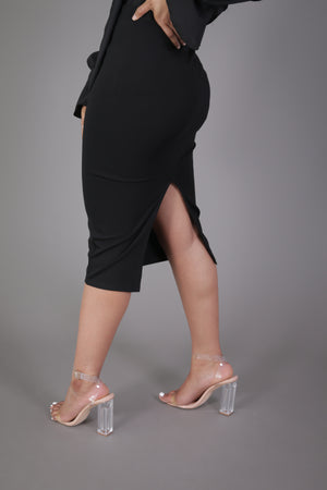Midi Skirt with High Split (Black)
