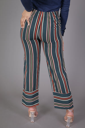 Green Stripe Ankle Suit Pant