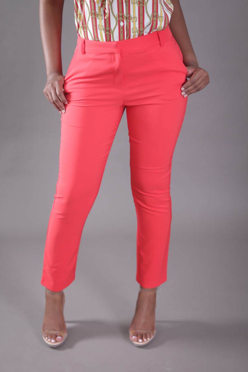 High Waist Cigarette Suit Pant (Red)