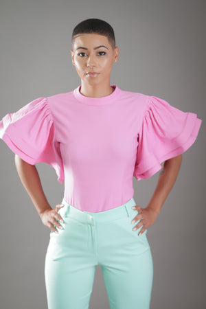 Ruffle Sleeve Top (Pink)