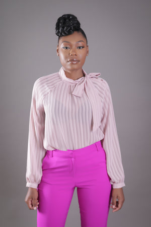 Sheer Shadow Striped Neck Tie Blouse (Blush)