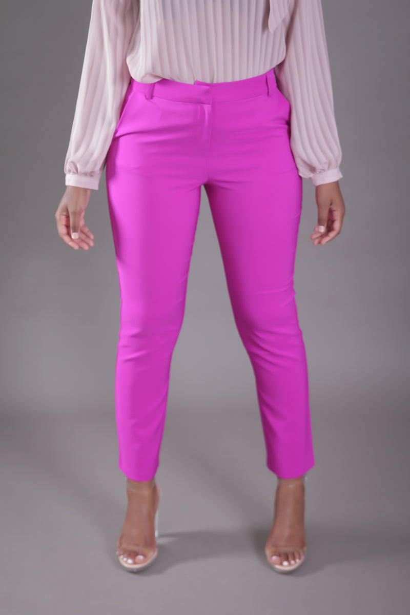 High Waist Cigarette Suit Pant (Bright Purple)