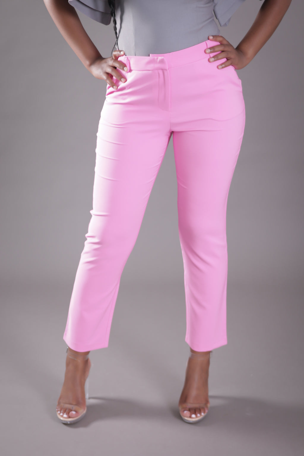 High Waist Cigarette Suit Pant (Pink)