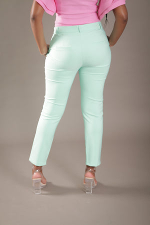 High Waist Cigarette Suit Pant (Mint)