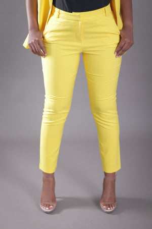 High Waist Cigarette Suit Pant (Yellow)
