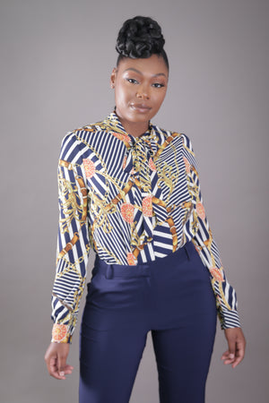 Belted Chain Neck Tie Blouse (Navy)