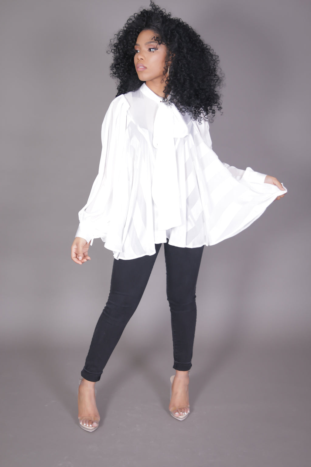 Bow Tie Long Sleeve Flare Blouse