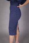 Midi Skirt with High Split (Navy)